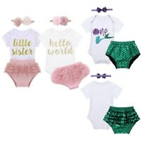 Newborn Infant Baby Girls Romper Bloomers Jumpsuit Bodysuit Birthday Clothes Set