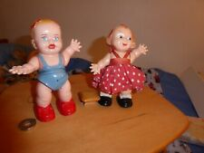 """2 Vintage Celluloid Or Plastic Walker Dolls 5"""" One With Marx Tag"""