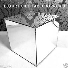Mirrored Side Table Bedside End Tea Lamp Nightstand Magazine Storage Mirror Luxr