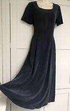Laura Ashley 100% Silk Vintage Day Dress Size 12  Long Navy Blue Fully Lined