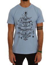 NEW DOLCE & GABBANA T-shirt Crewneck 2017 Motive Print Light Blue Cotton IT50/L
