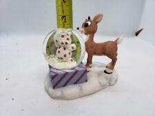 RARE! Enesco RUDOLPH & Misfit ELEPHANT Double Snow Ball Figurine MIB CUTE!