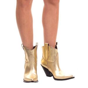 RRP €970 MAISON MARGIELA Leather Western Boots Size 38.5 UK 5.5 US 7.5 Cracked