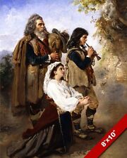OLD MAN PLAYING THE BAGPIPE & YOUNG FLUTE PLAYER PAINTING ART REAL CANVAS PRINT