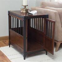 Pet Crate End Table Espresso Finish Metal  Furniture Wood Family Room Indoor