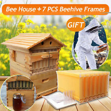 7 PCS Hive Beehive Auto Flow Honey Frames + Beekeeping Cedarwood Super Brood Box