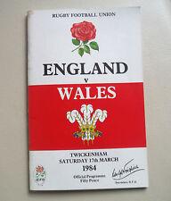 8 Angleterre/Pays de Galles de Rugby Twickenham-mars 1984 *