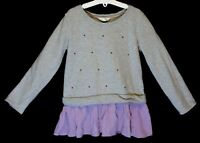 Girls Pumpkin Patch Grey Marl Purple Diamante Layered Sweater Jumper Age 8 Years