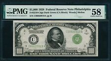 1928 $1000 Dollar Bill Redeemable In Gold Note Scarce Philly Money PMG AU 58