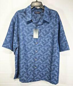 ROUNDTREE & YORKE Big Men Blue Metallic S/S Sqre Tail Button-Up Shirt sz 3XB NWT