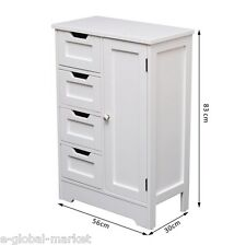 White Cabinet Bathroom Console Storage Unit Floor Drawer Shelves Towel Solid MDF