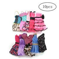 10pcs Mini Dresses for Doll Party Dresses Clothes Gown Random Color