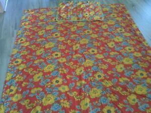 Sferra Mai Tai Twin Duvet Cover & Sham,400 TC Floral Rouge Cotton Sateen,GUC