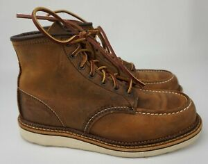 Red Wing Heritage Brown Copper Rough Tough Leather Moc Toe Boot 1907 Size 9.5 D