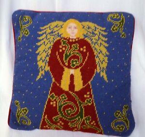 Blue Vintage Needlepoint Christmas Angel w Wings Handmade Pillow w Red Velvet