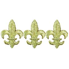 "Fleur De Lis Applique Patch - Metallic Gold, Saints 1-1/8"" (3-Pack, Iron on)"