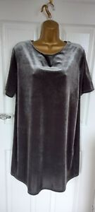 """NWTM&S Limited  size UK16-18 Unlined shift dress a silver grey velvet  BUST 46"""""""