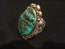 Vintage Giant Sterling Silver Turquoise Ring 2.6 oz. signed Chu-to SIZE 14