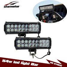 "2x 9"" Inch 54W Led Work Light Bar Flood Spot Driving Offroad Boats Marine Jeep"
