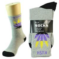 Leaf 3 Pairs Mens Comfort Cotton Sport Athletic CREW Socks Long Size 9-11 GRAY