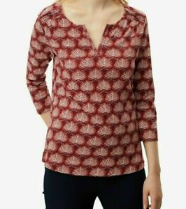 New EX WHITE STUFF UK Size 6 Terracotta Red Floral Cotton Jersey Blouse Top