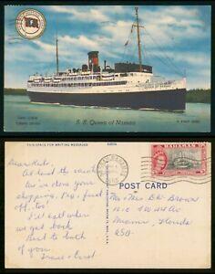 Mayfairstamps Bahamas 1955 SS Queen of Nassau Linen to Miami FL Shipping Postcar