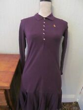 ralph lauren purple long sleeve pleat hem tennis style dress size 10 sport lux