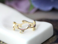 Twig Knuckle Ring Crystal Branch Leaf Ring Gold Silver Plated Jewelry gift idea
