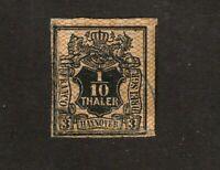 Hannover stamp #6, used, imperf, 1851-1855, SCV  $60