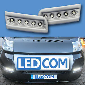Daytime Running Lights DRL LED Pod Kit Fiat Ducato Boxer Relay Motorhome Silver