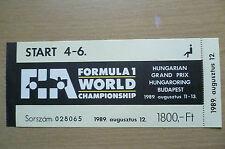 Ticket- 1989 Formula 1 WORLD CHAMPIONSHIP, HUNGARIAN GRAND PRIX, Hungaroring