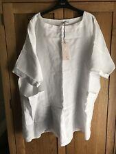 Womens New White Linen Tunic Kaftan OSFA Lagenlook