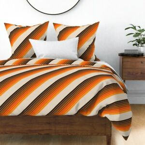 Desert Retro 70S Seventies Candy Stripes Orange Sateen Duvet Cover by Roostery
