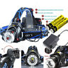 90000LM T6 Zoomable Led Rechargeable Headlamp Flashlight 18650 Battery Charger