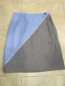 HARVE BENARD NEW Wool Blend Color Block Zipper Skirt Sz 8 CLASSY CAREER