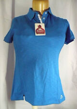 NEW Roots 73 Canada Ladies Size S Short Sleeve Polo Shirt baltic blue & white