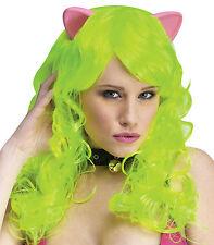 Lime Green Cat Pony Long Wig & Ears Adult Cosplay Sexy Animal Halloween Costume