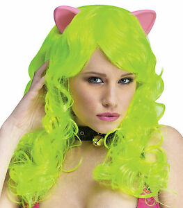 Lime Green Cat Pony Long Wig & Ears Adult Saint Patricks day Womans Halloween