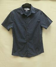 "Topman Slim Fit mens' navy/mult shrt sleeve button-up shirt Chest 38-40"" Label M"
