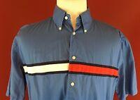 Tommy Hilfiger Blue Short Sleeve Button Up whole shirt Logo Mens Large