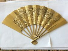 Vintage Brass Asian Dragon Pheonix Fan Wall Hanging Oriental Chinese Plaque