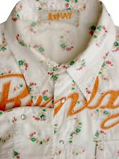 REPLAY Shirt Mens 18 XL White - Flowers POPPERS