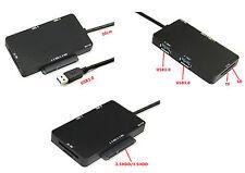 Convertidor SATA (15+7 clavijas) a USB 3.0 + HUB + Lector SD MicroSD