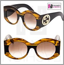 adae4caddff GUCCI GG0177S Black Brown Havana URBAN WEB BLOCK DIVA Oversized Sunglasses  0177