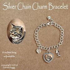 Tabby American Short Hair Striped Cat - Charm Bracelet Silver Chain & Heart