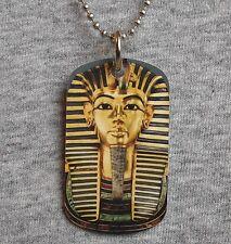 Metal dog tag Necklace KING TUT Tutankhamun Golden boy egyptian prince pendant