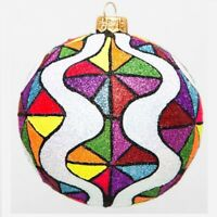 Fair Pop Art Multicolored Polish Glass Ball Christmas Tree Ornament Made Poland