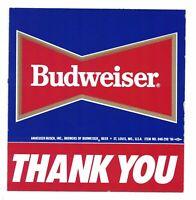 """Vintage Budweiser Thank You Sticker 1986 Pro Beach Volleyball Surfing 5 1/2"""""""