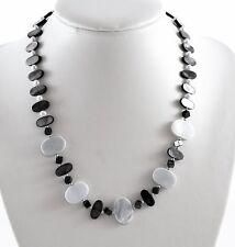 Cáscara Azul y madre de collar de perlas con broche de plata esterlina
