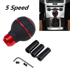 1 Set Universal 5 Speed Leather Car Gear Shift Knob Shifter Lever Cover Red New